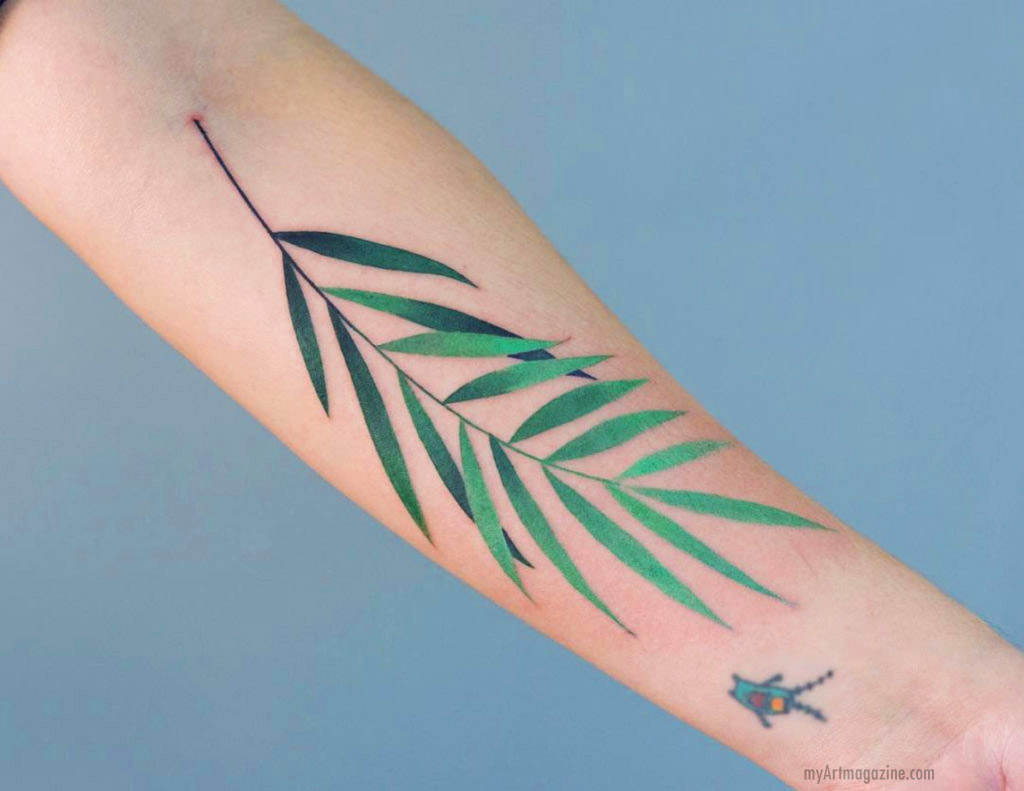 color tattoo art leaf design