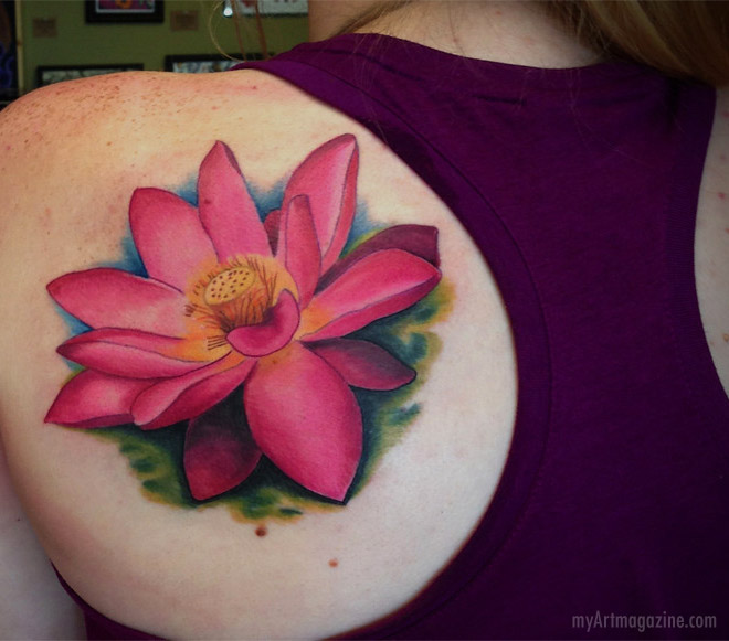 color tattoo art pink lotus flower by christopher hedlund