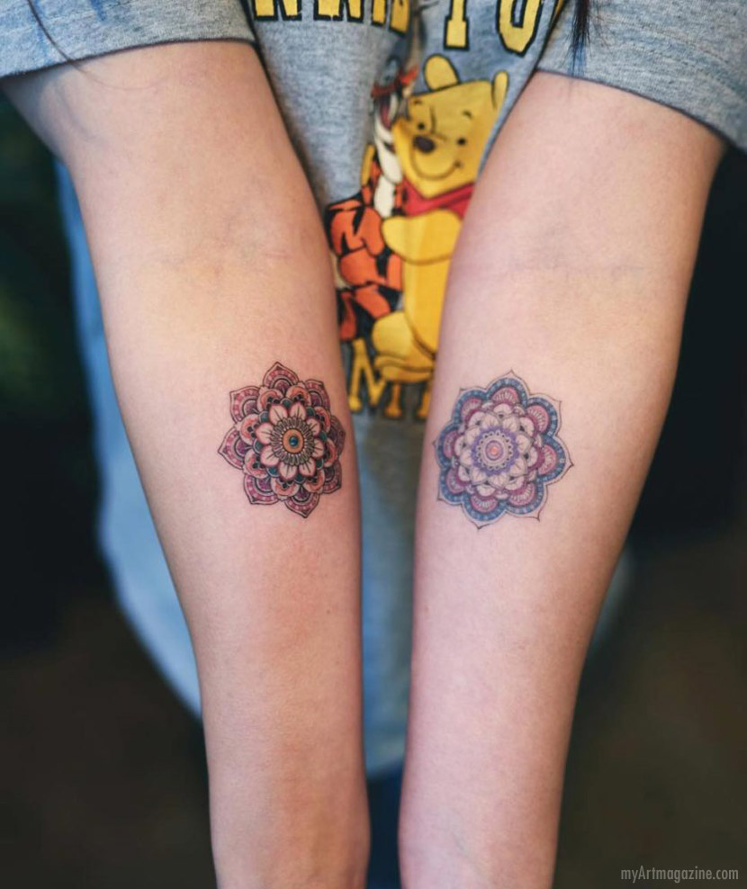 color tattoo art work mandala flower