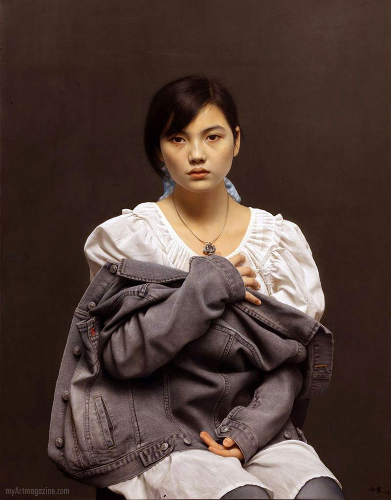 hyper realistic painting woman portrait by leng jun