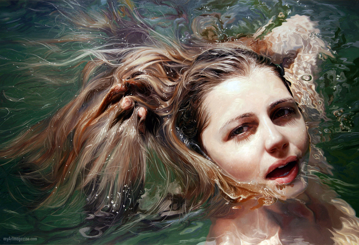 hyper realistic painting woman swim by alyssa monks