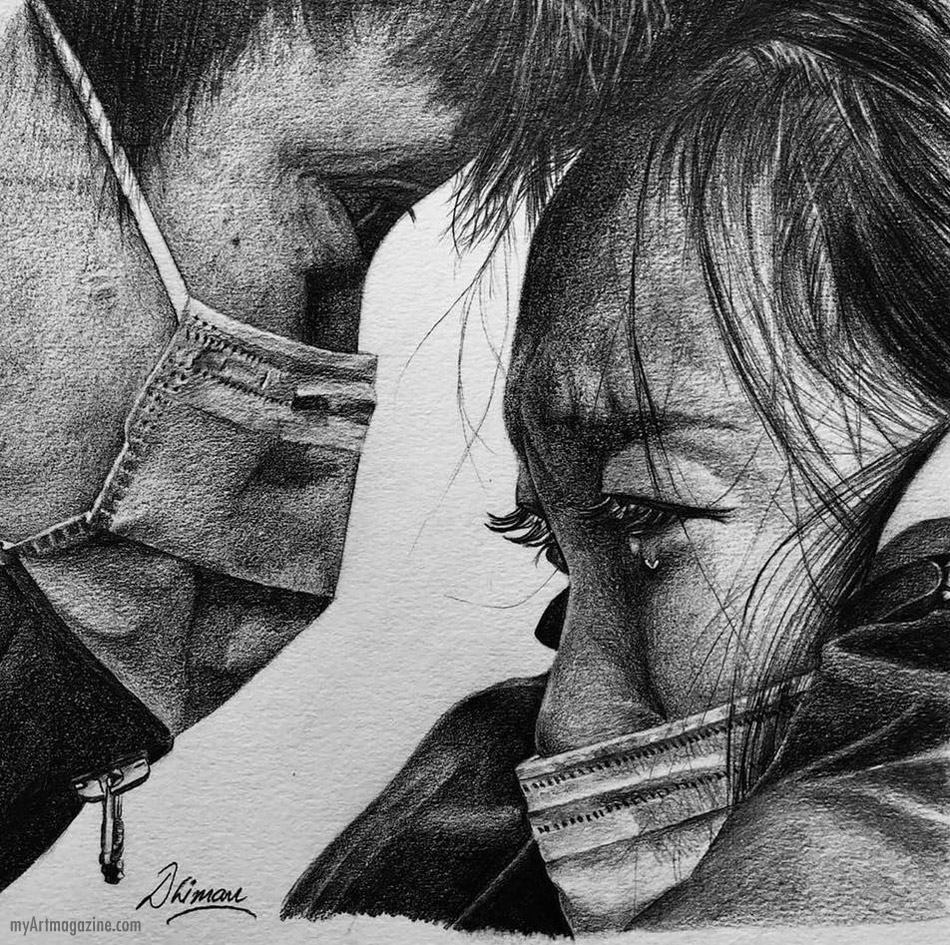 pencil drawings couple with mask corona virus