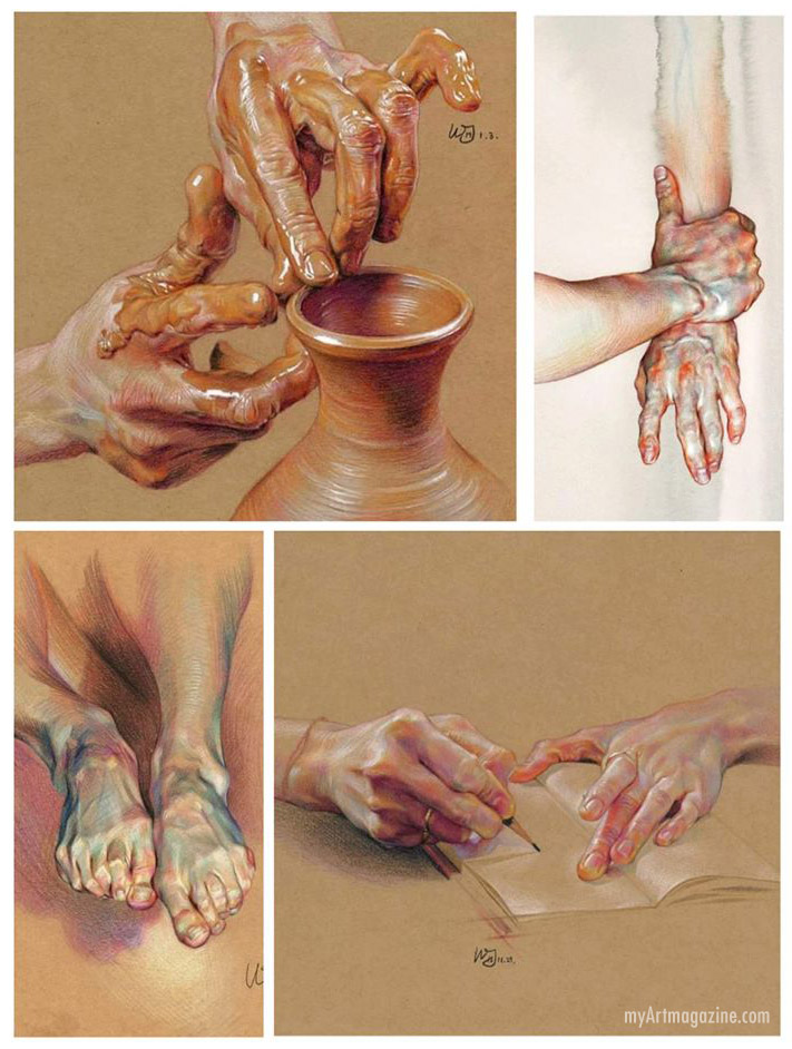 realistic painting hand fingers