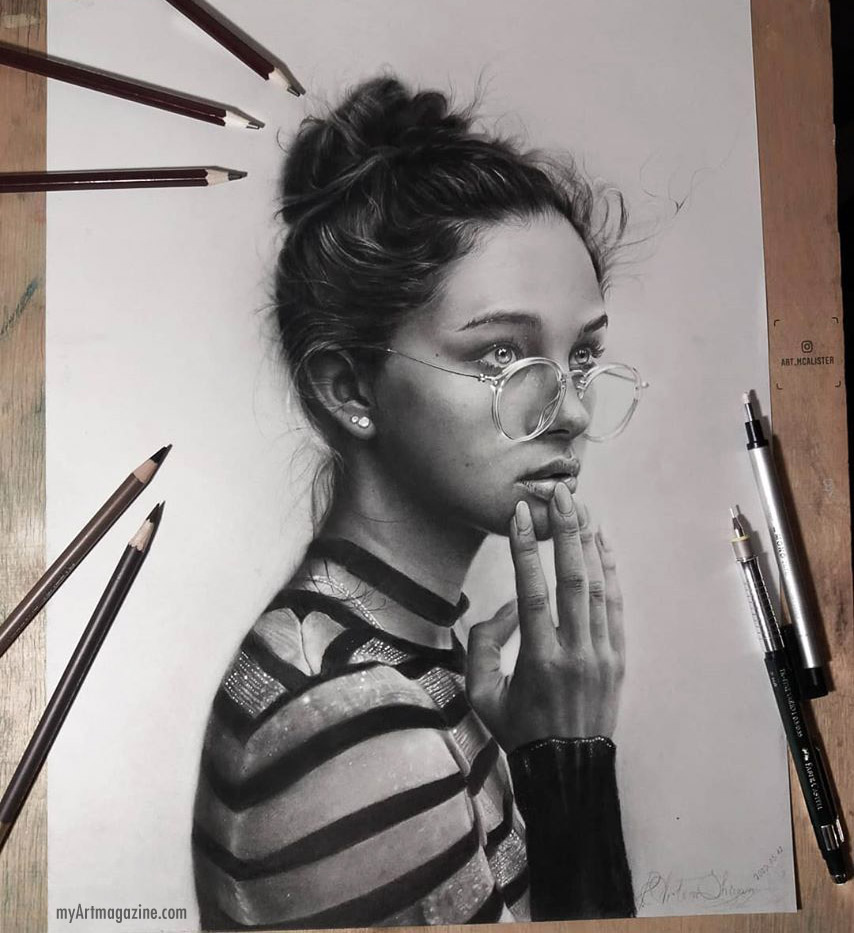 realistic pencil drawing girl by artem shiyan