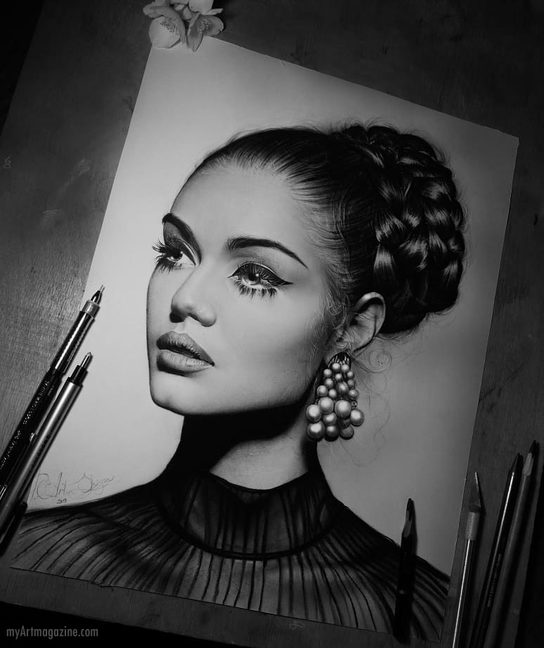 realistic pencil drawing woman portrait by artem shiyan