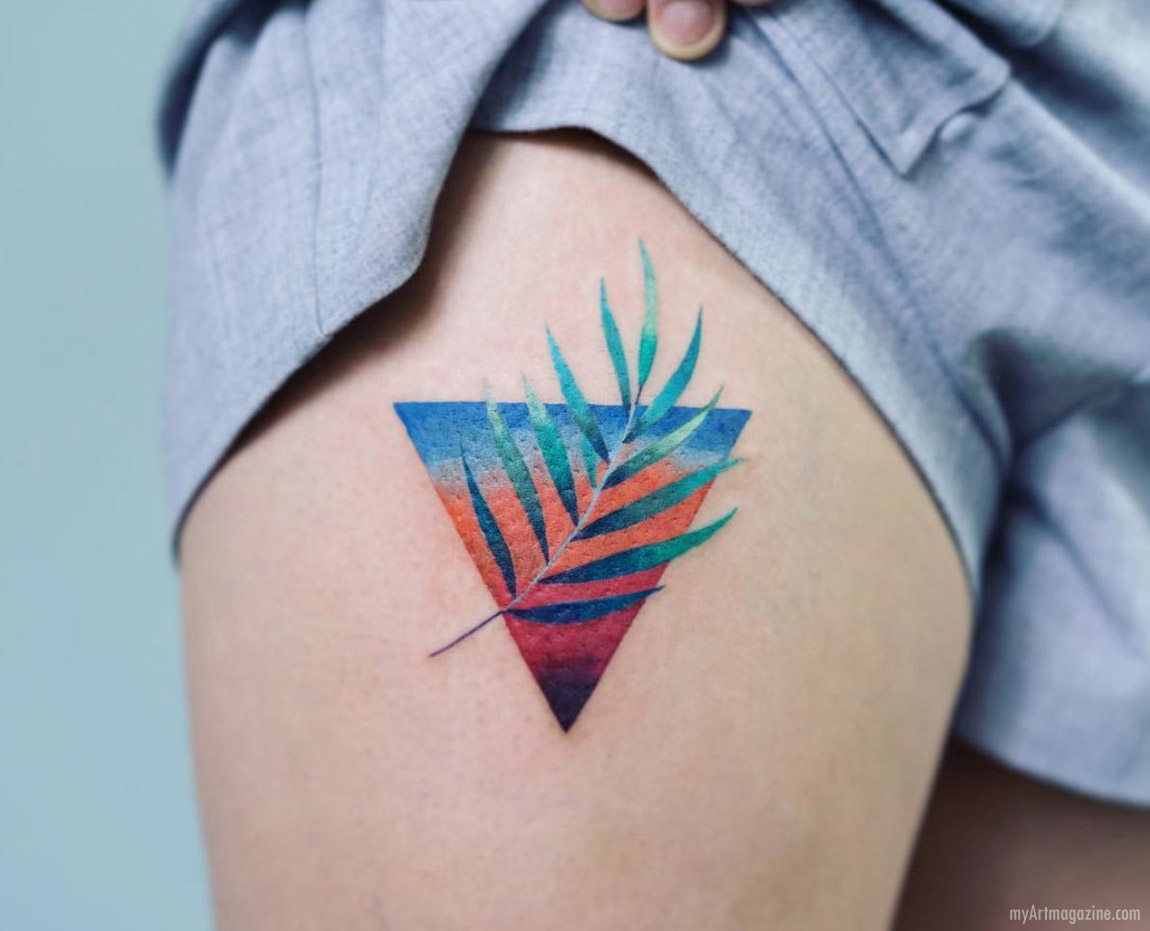 tattoo art color leaf