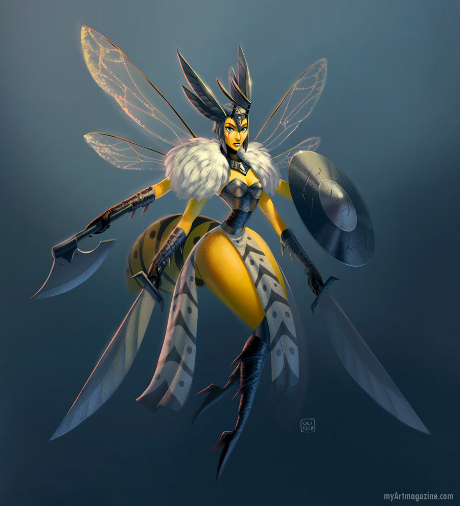 digital art painting insect warrior bee by sarahlisahleb