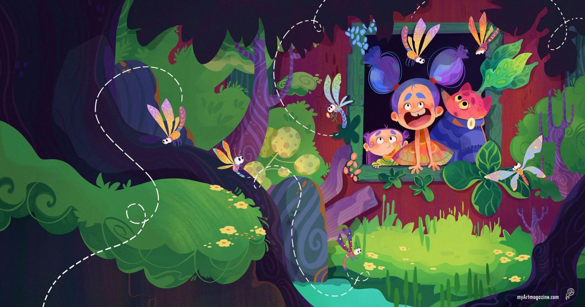 digital illustration art book cover fireflies