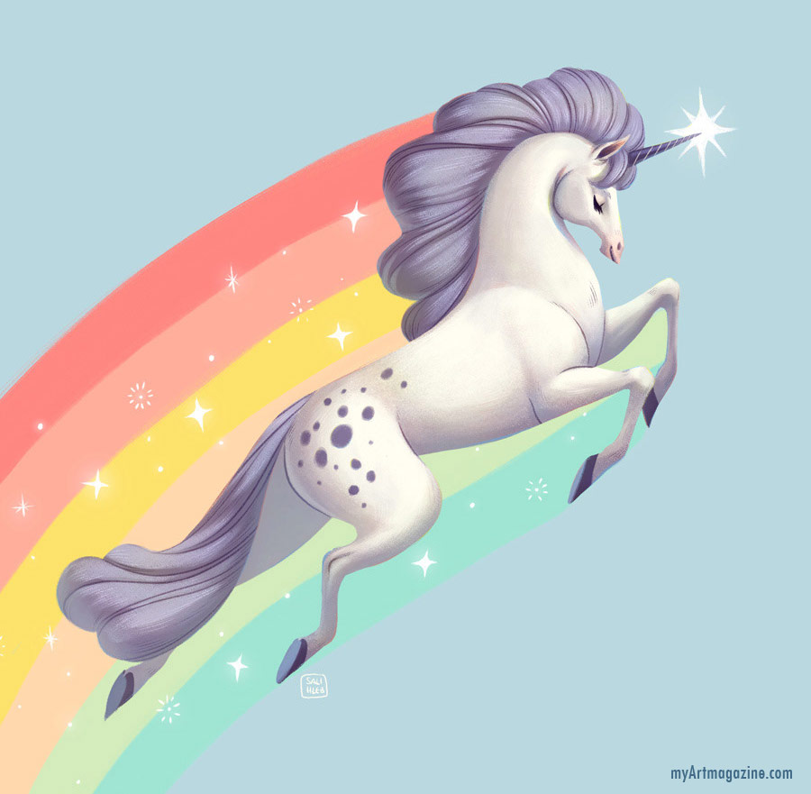 digital painting artwork unicorn horse by sarahlisahleb