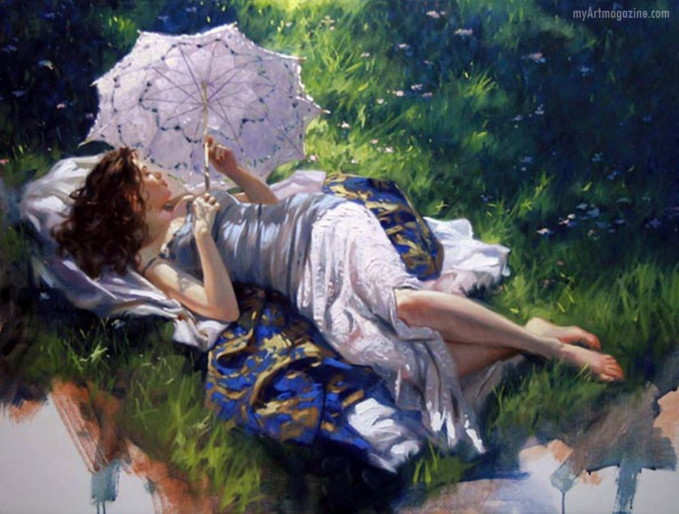 painting artwork woman garden richard s johnson