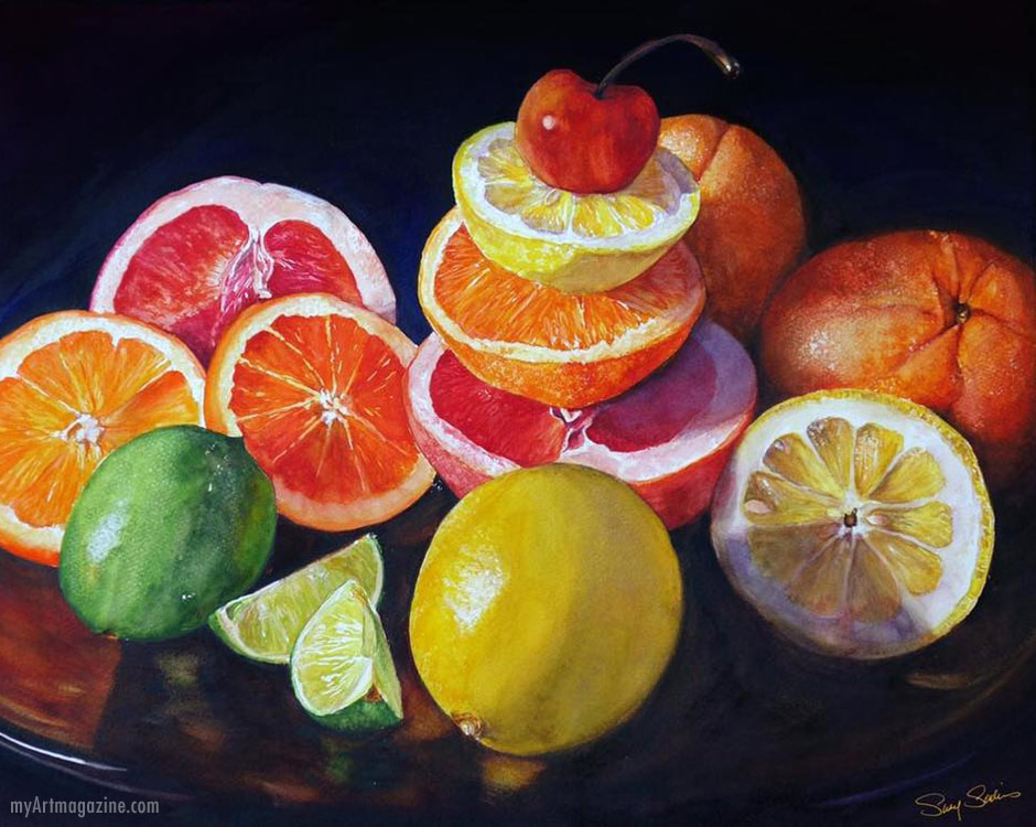 painting hyper realistic artwork fruits still life