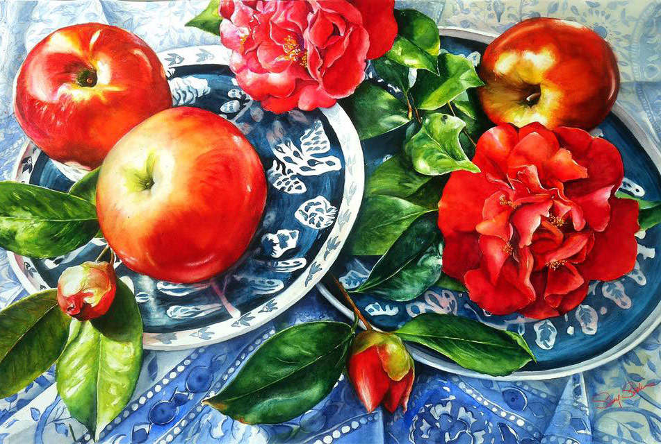 painting realistic artwork fruits apple still life by susyq studio