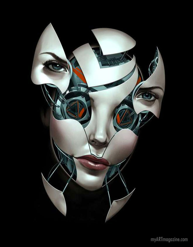digital art face robot
