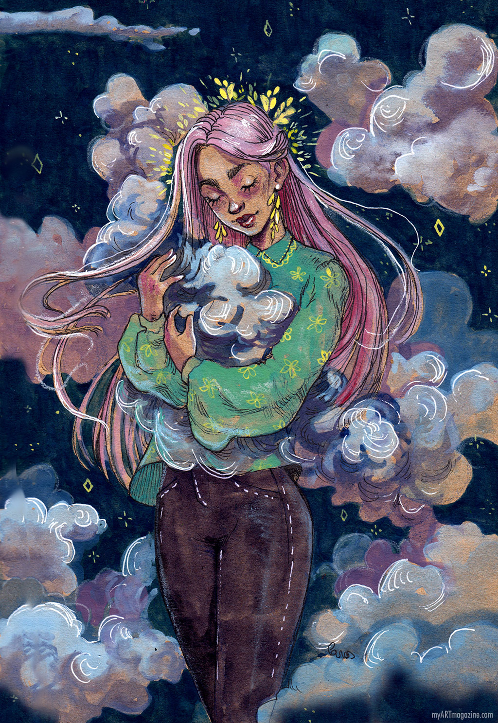 watercolor painting girl cloud