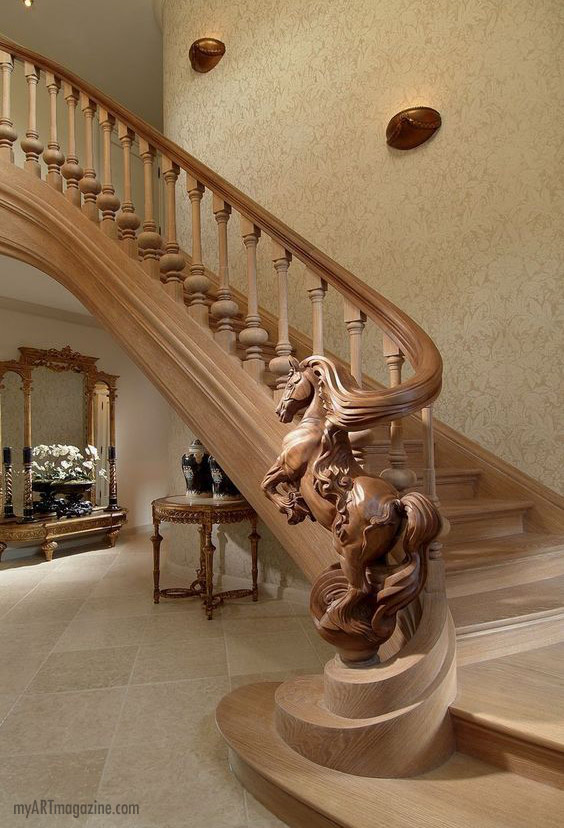 wood sculpture staircase horse
