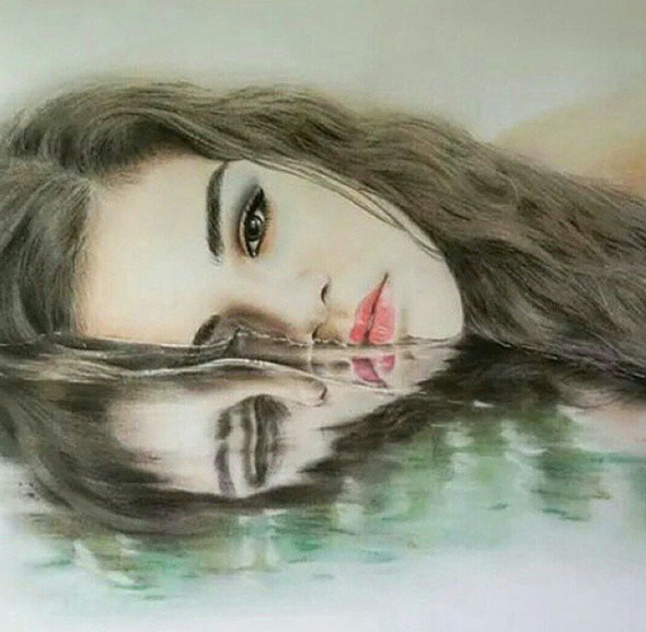 girl pencil drawing by winai van