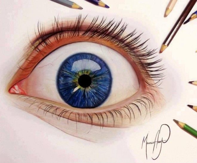 real eye color pencil drawing