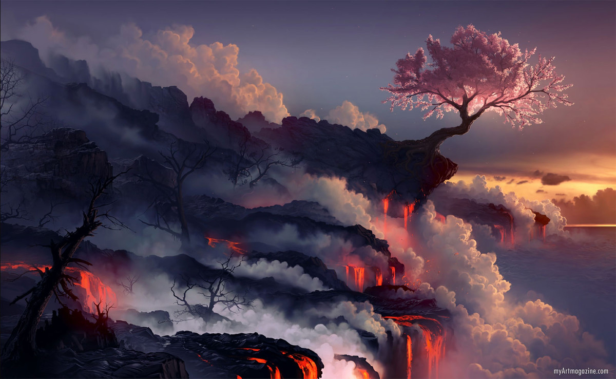 digital art trees lava rock valcano sunset