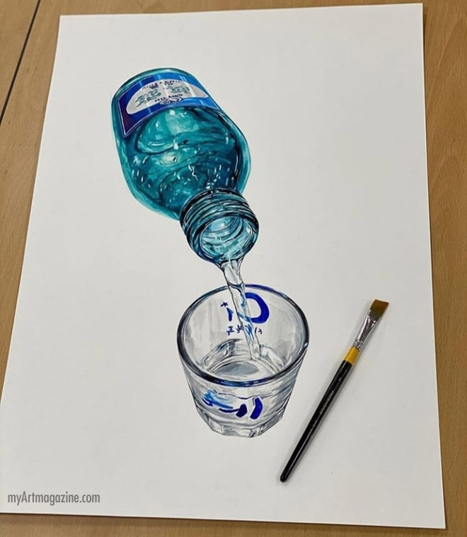 3d drawing glass cup