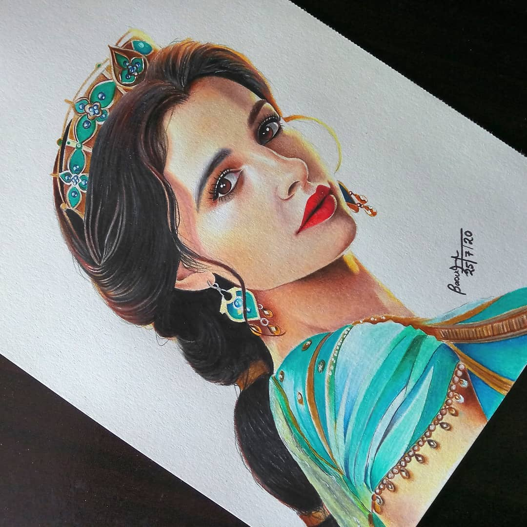 color pencil portrait drawing jasmine by basudha roy