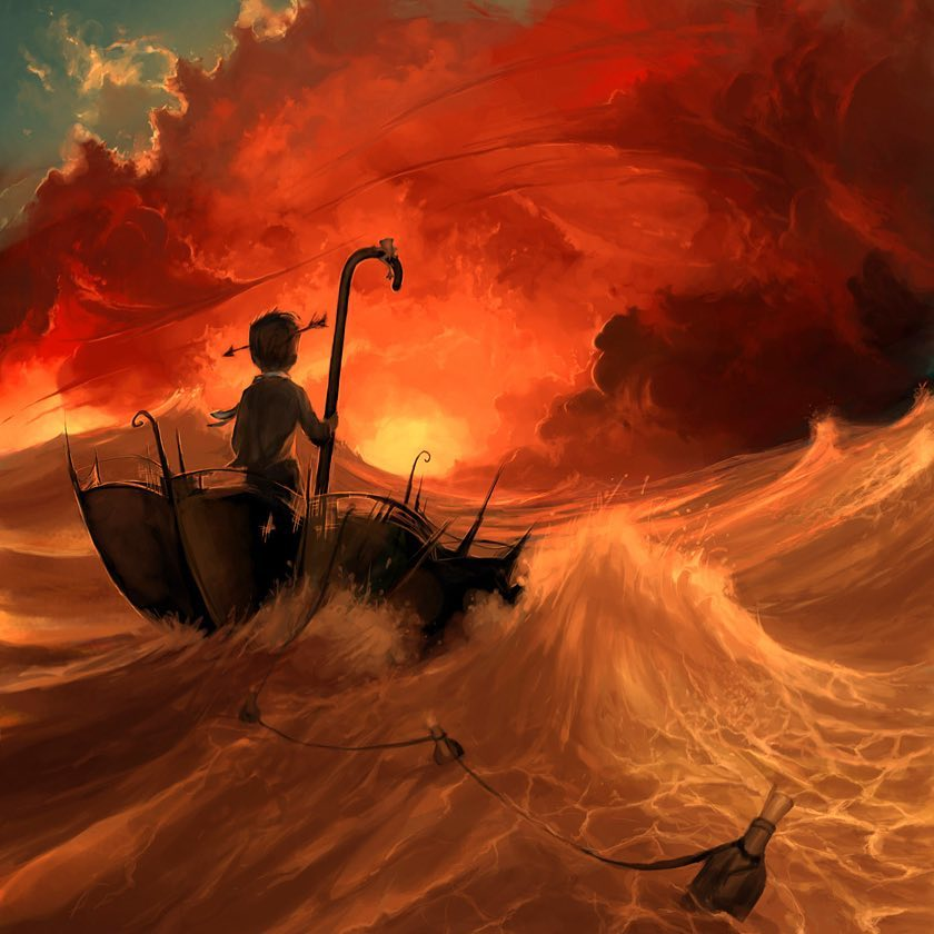 digital artwork storm sea boat