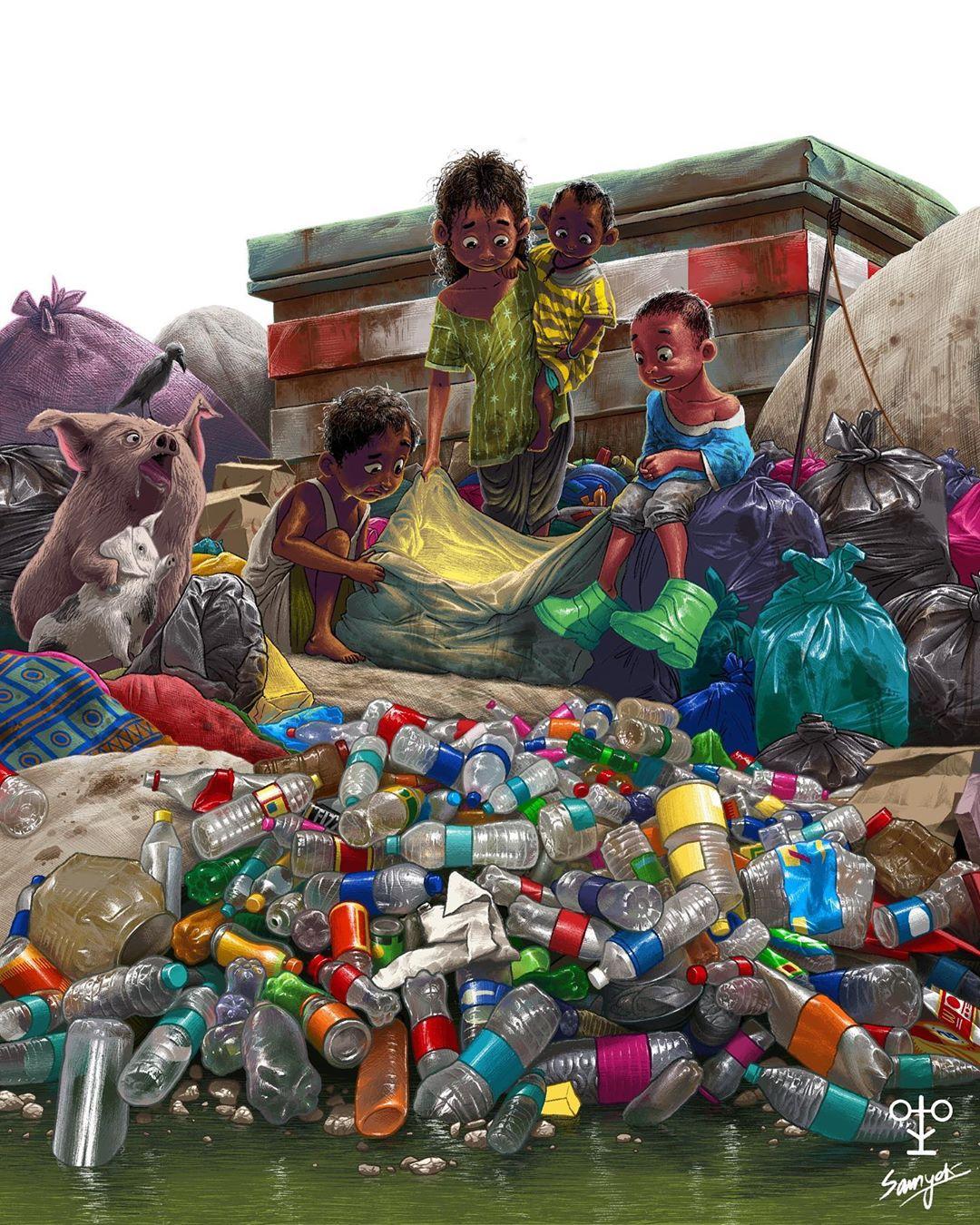 digital illustration india kids garbage