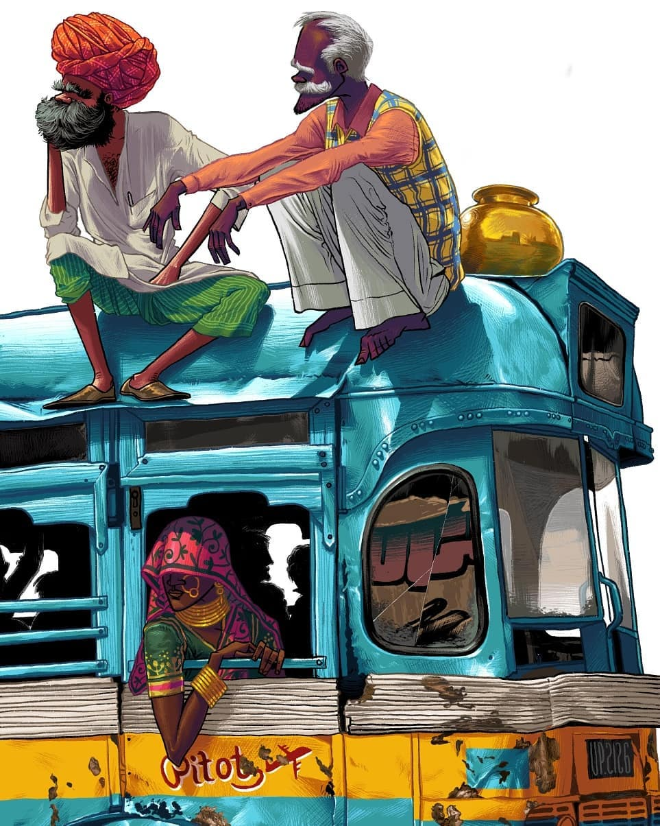 digital illustration indian travellers hues