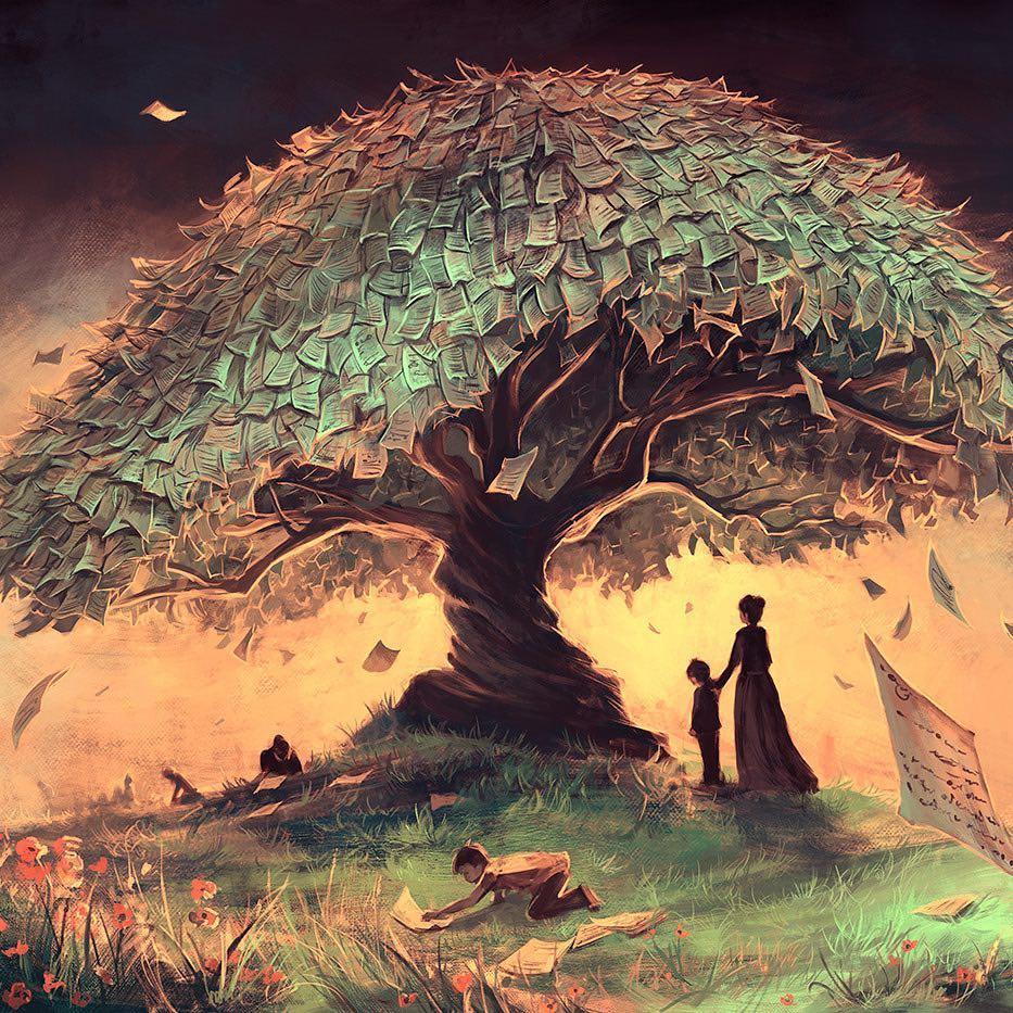digital illustration teller tree money