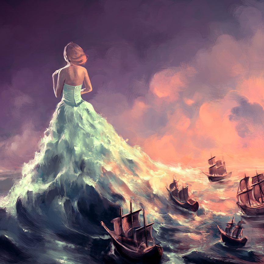 digital illustration woman sea waves