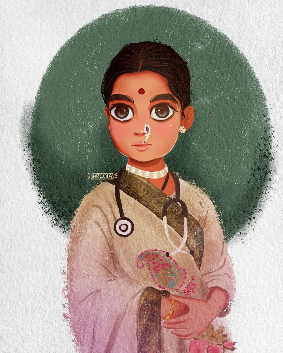 painting indian doctor woman