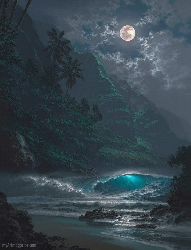 painting night moon beach sea wave