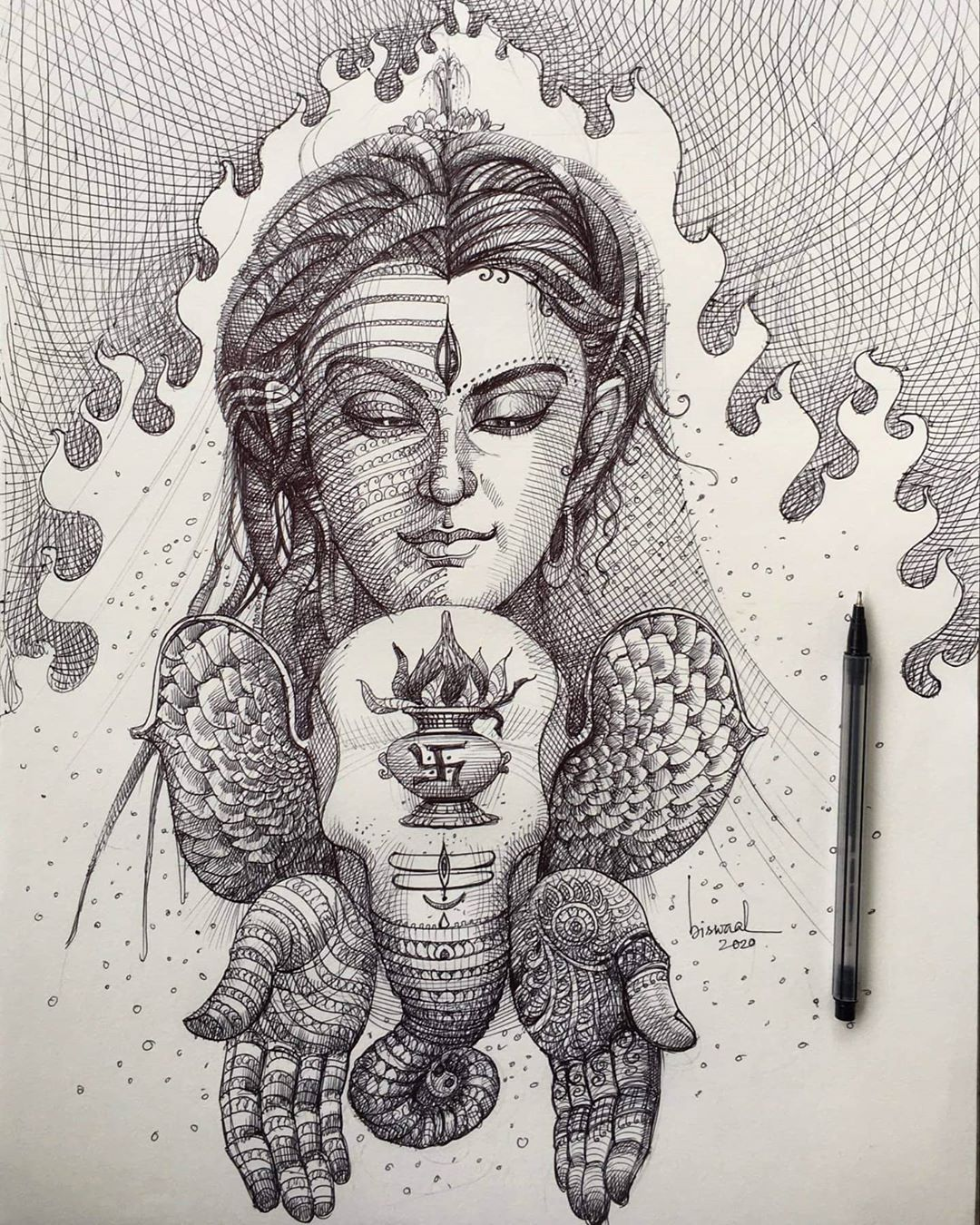 pen drawing indian god ganesh shiva by bijay biswaal