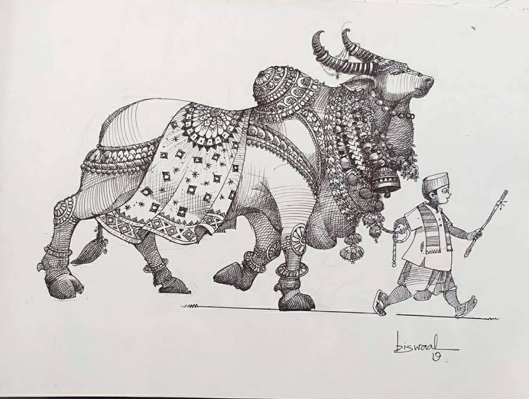 pen drawing bull man by bijay biswaal