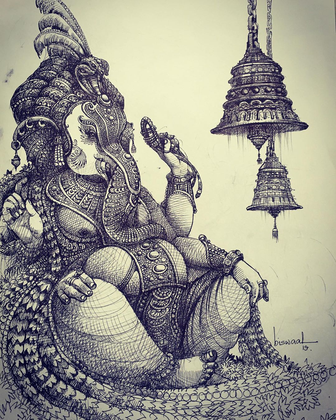 pen drawing ganesh indian god