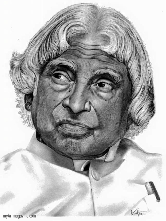 pencil drawing abdul kalam indian president