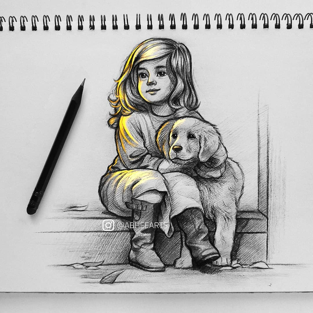 pencil drawing best friends kid