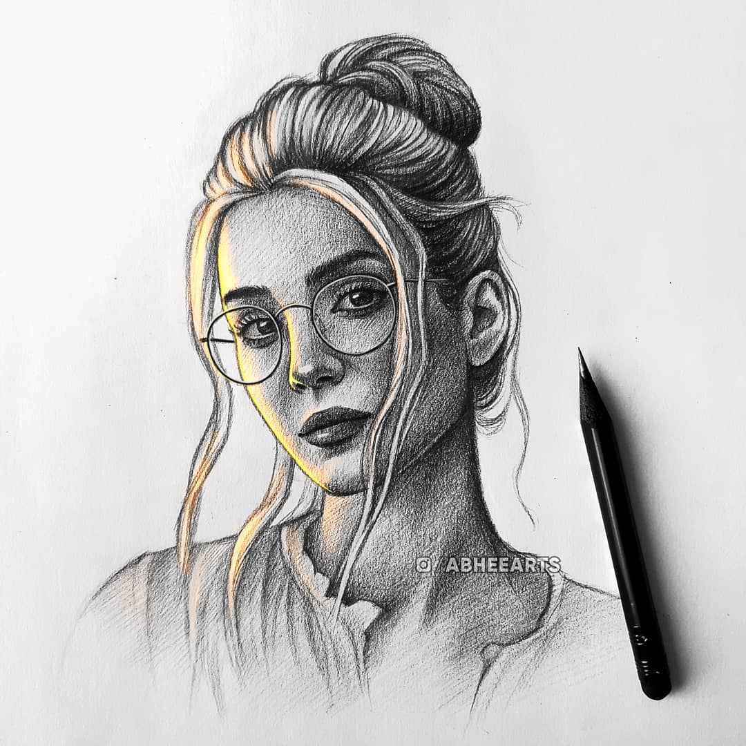 pencil drawing woman portrait